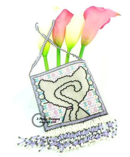 Good Kitty Peyote Stitch Amulet Bag PDF Pattern by 3 Peeps Designs