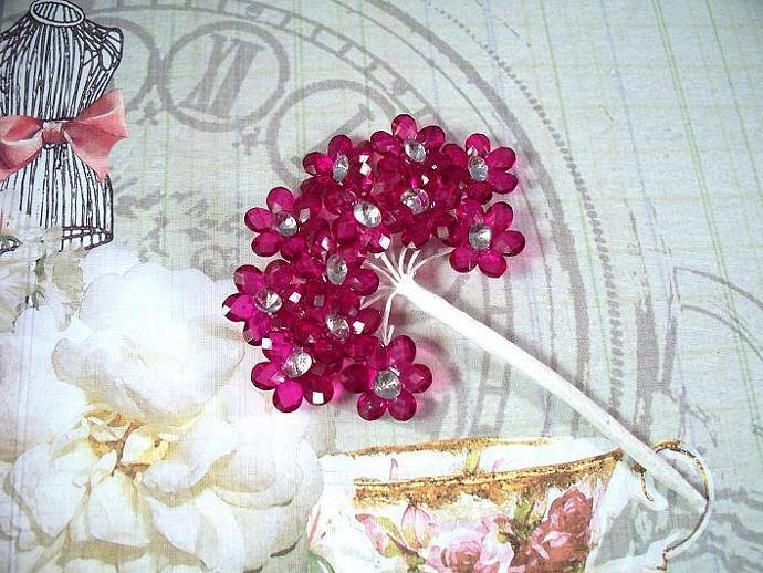 "12 Mini Fuchsia Acrylic Flowers 5/8"""