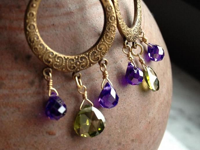 Purple and Green Cubic Zirconia Chandelier Earrings, faceted purple teardrop and