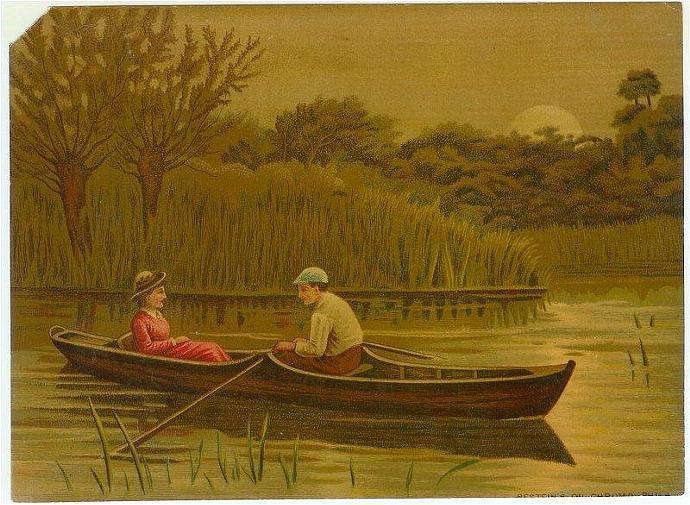 Antique Chromolithograph Vintage 1880s Victorian Print Couple in Canoe 1880s