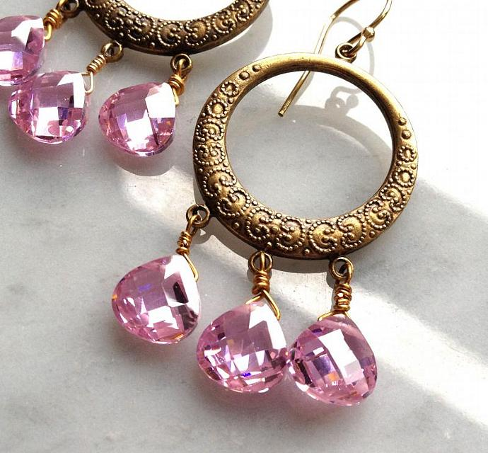 Pink Cubic Zirconia Hoop Chandelier Earrings, candy pink faceted CZ drops, 14k