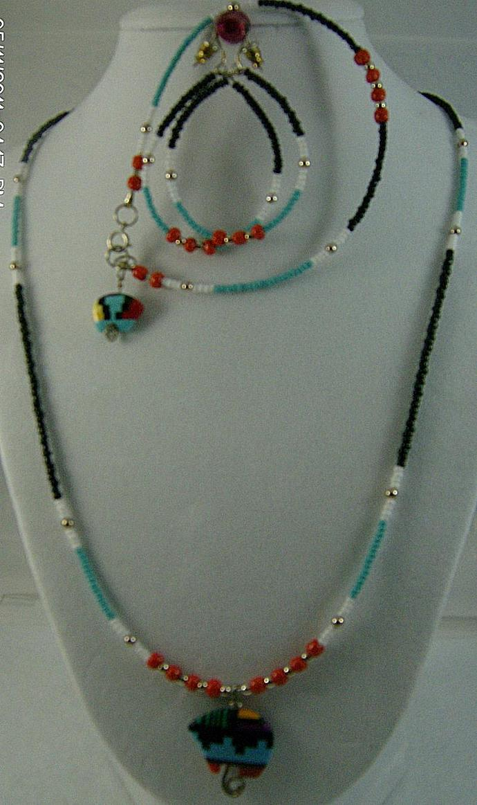 Indian Style Beaded Necklace Set-Item # 0017