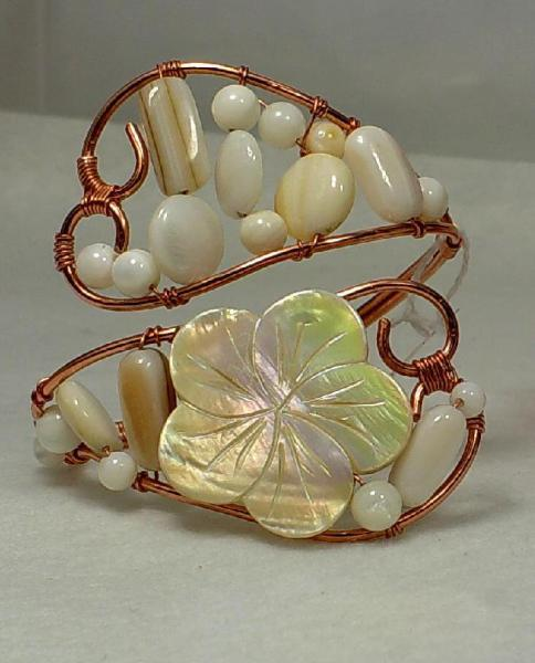 Copper and Shell Bangle-Item # 0023