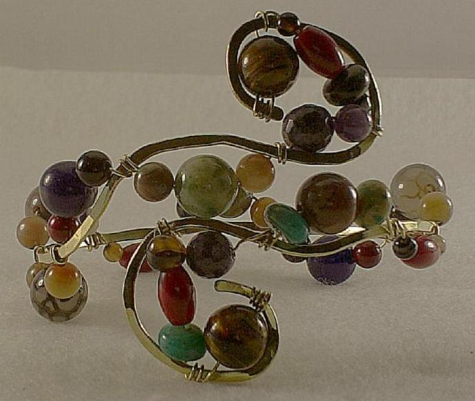 Gemstone and Brass Bangle-Item # 0031