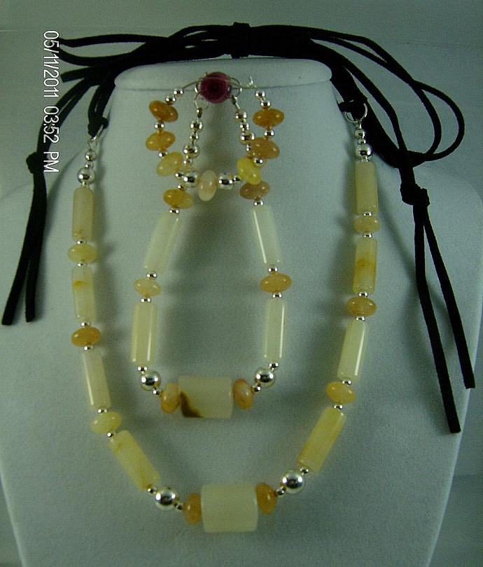 Italian Onyx and Suede Necklace Set-Item # 0039