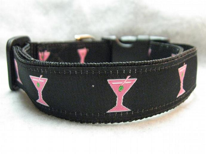 "Preppy Retro 1"" Designer Pink  Martini Collar"