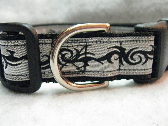 Black Tribal on Silver 1 Inch Designer  Collar