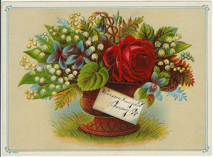 Victorian Reward of Merit Roses Lily of the Valley Basket Antique 1880s Card