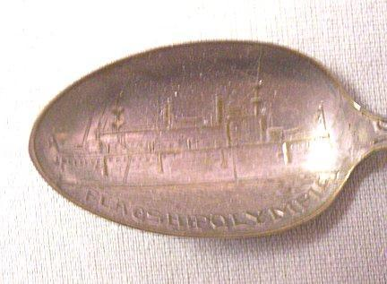 Souvenir Spoon Vintage Admiral Dewey Olympia Ship Commemorative