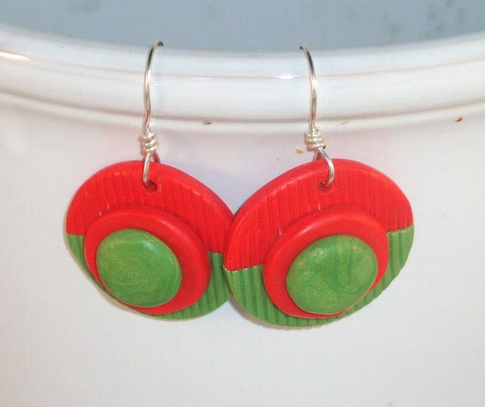 Melon/Lime, Lime/Tan or Melon/Gold Polymer Clay Circle Earrings