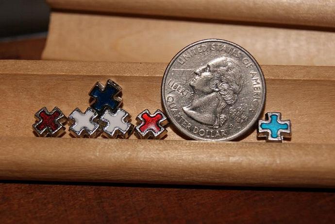 3 pairs of Enamel Cross Charm Pendants