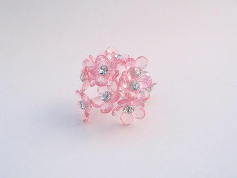 10 Medium Light pink Crystal flowers