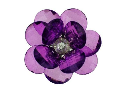 3 Large Crystal Purple Flowers