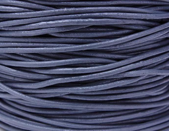 2mm Grey gray cowhide round leather cord 10 feet (482)