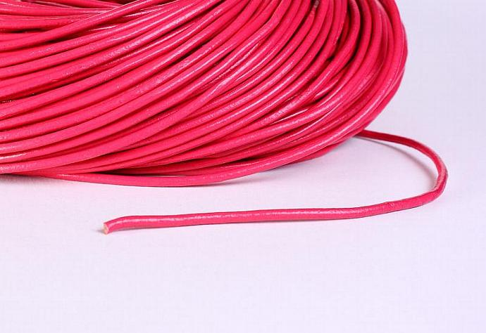 2mm Deep pink cowhide round leather cord 10 feet (483)