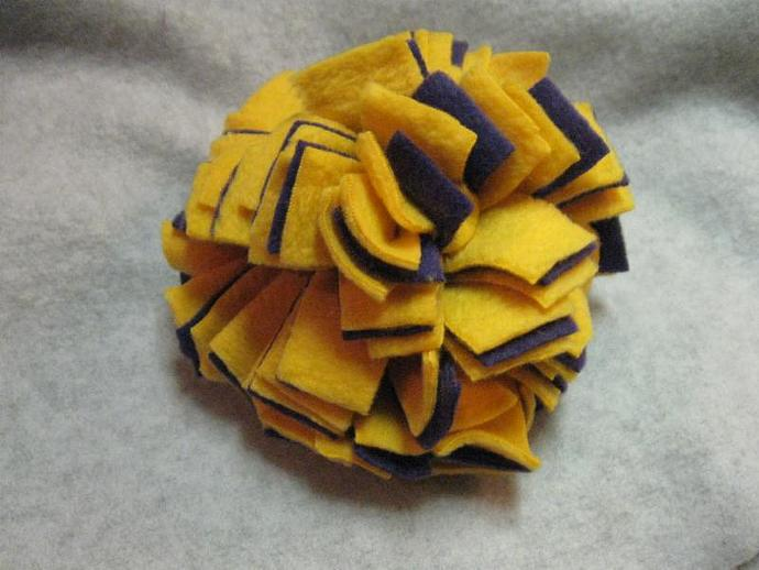 Large Gold and Purple Fl'tossums Fleece Ball Dog Toy