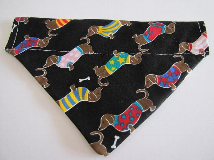 Small Dachshund Doxie Slip Over the Collar Bandanna Scarf