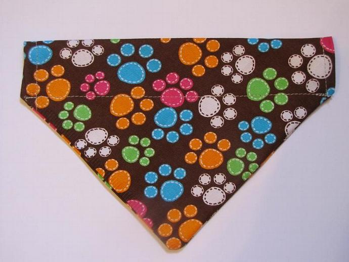 Small Multi Color Paws Over the Collar Bandanna Scarf