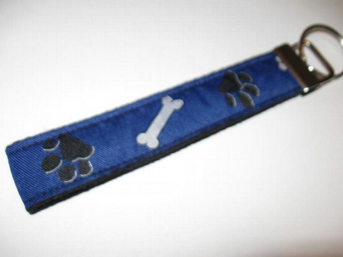 Blue Paw Print and Bones Wristlet Keyfob