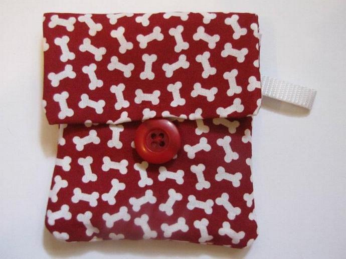 Red Bones Print Pooch Pouch Treat Trainer Poop Bag Holder
