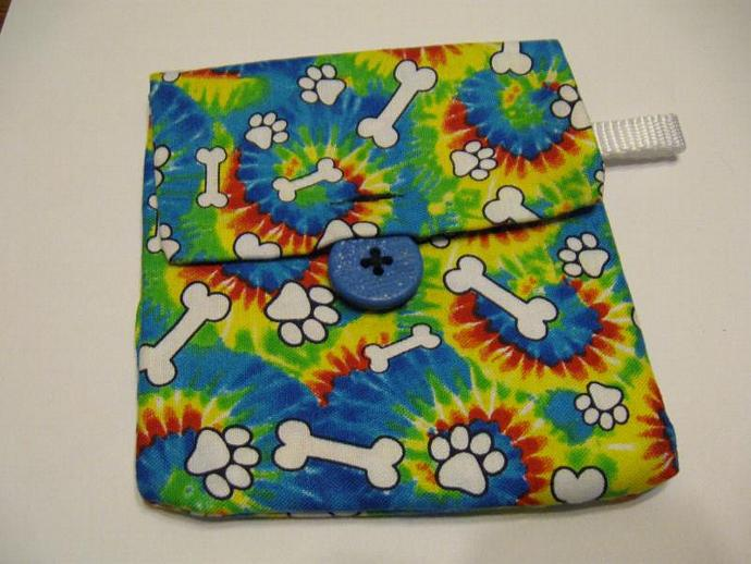 Tie Dye Paw Print Pooch Pouch Treat Trainer Poop Bag Holder