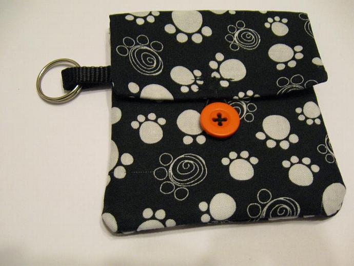 Black Paw Print Pooch Pouch Treat Trainer Poop Bag Holder
