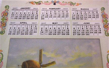 Vintage Advertising Calendar Browns Thrift Store Western, Nebraska 1937