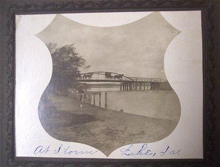 Storm Lake Iowa 1903 Calendar Horses Bridge Antique Photo