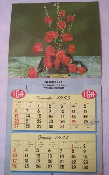 Vintage 1954 Advertising Calendar Hubert's IGA Wymore Nebraska Grocery Store