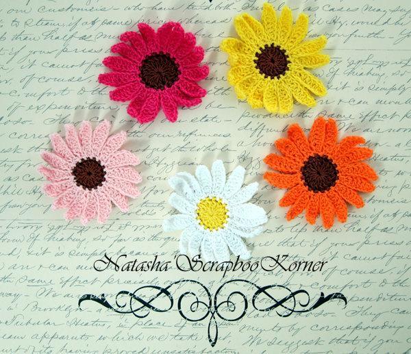 """5pcs Large Crochet Chamomile Applique - 2.5""""  Multi Colors stl"""