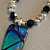 Blue and Green Jewel Tones Art Glass Necklace