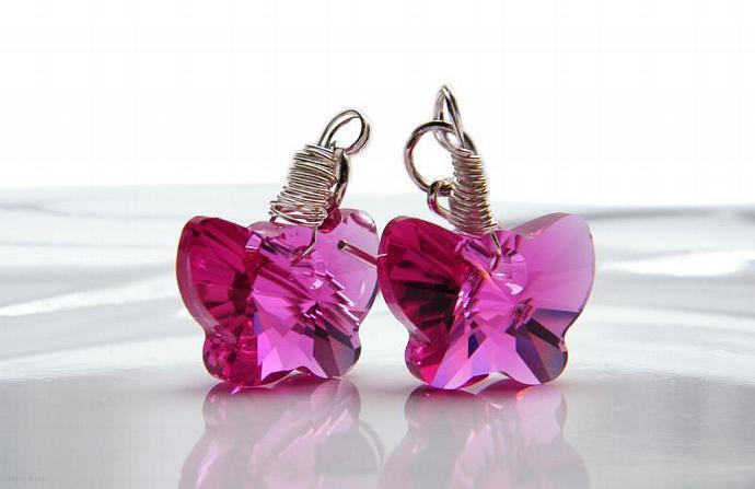Pink Fuchsia Butterfly Earrings Swarovski Crystal Sterling Silver