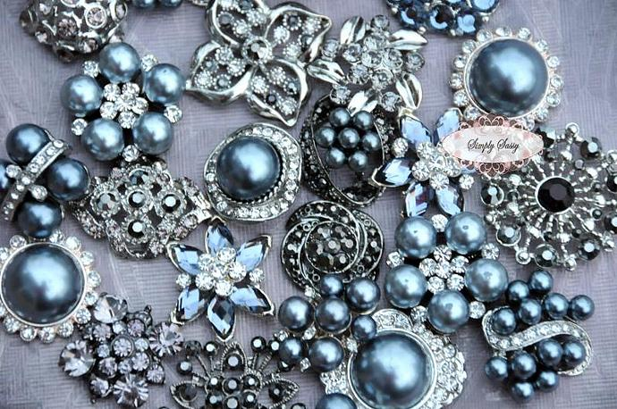 10 pcs. Assorted Gray Rhinestone Embellishment Buttons - Add to flowers,