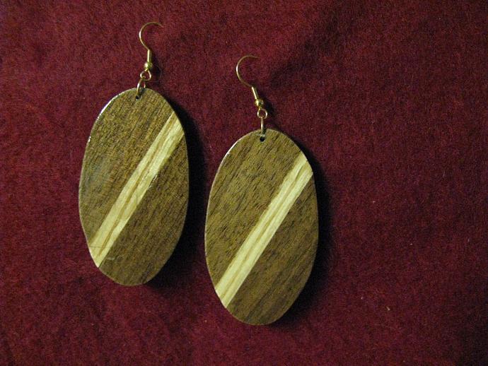 Oval Striped Wood Earrings