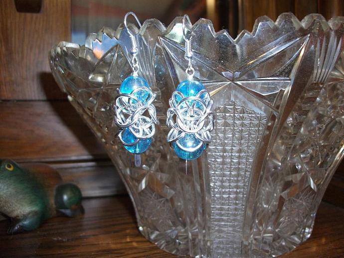 Turkish Orbital Earrings- Aqua