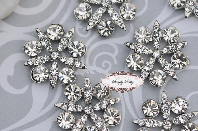 RD17 GoRgEoUs Clear Rhinestone Embellishment Buttons - Add to flowers,