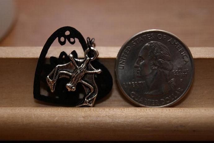 Bat Lover Earrings - Wood Heart Charm - Silver Black