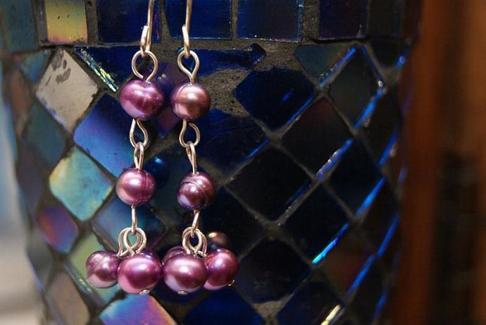 Drops of Purple - Freshwater Pearl Earrings