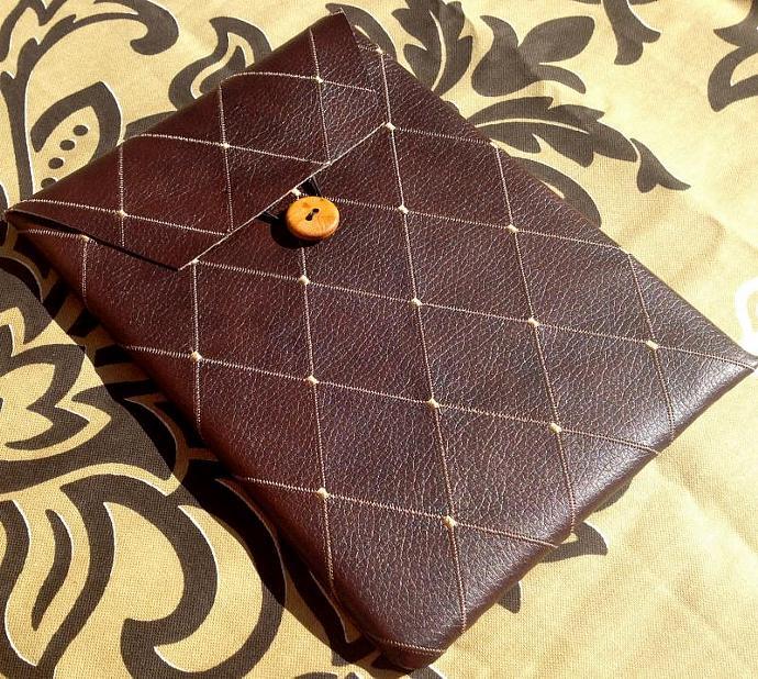 iPad Case - Brown Faux Leather Diamond Design