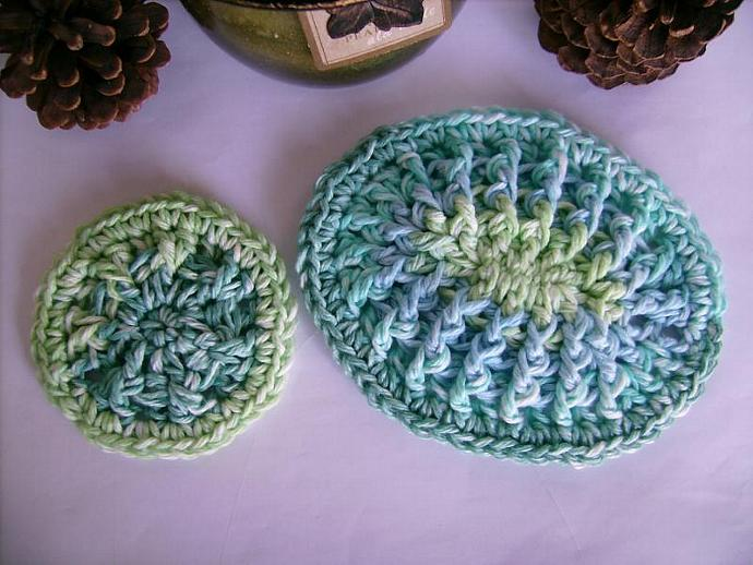 Custom Crochet Special Set of One Large and One Mini Soap Dish OCEAN COLORS
