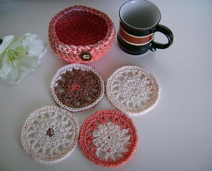 Crocheted Coaster and Bowl Set in Tangerine, Brown and White Cotton