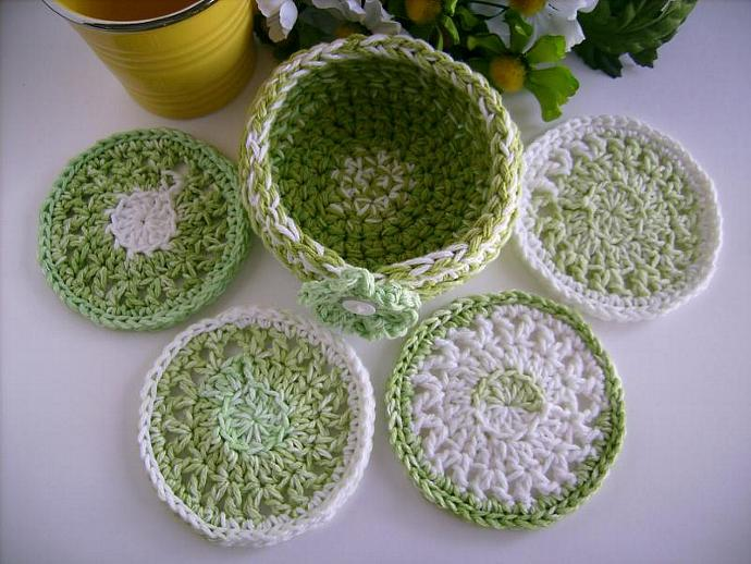 Custom Crochet Lime Green Coaster Set with Bowl