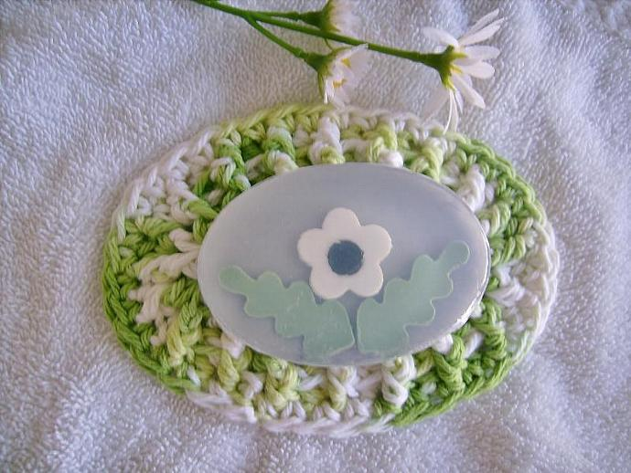 Soap Dish, Hand Crocheted in Key Lime Green and White