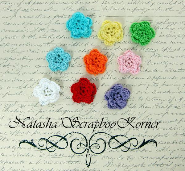 """10pcs  Crochet Double Layer Flowers  - 1"""" Multi Colors stl"""