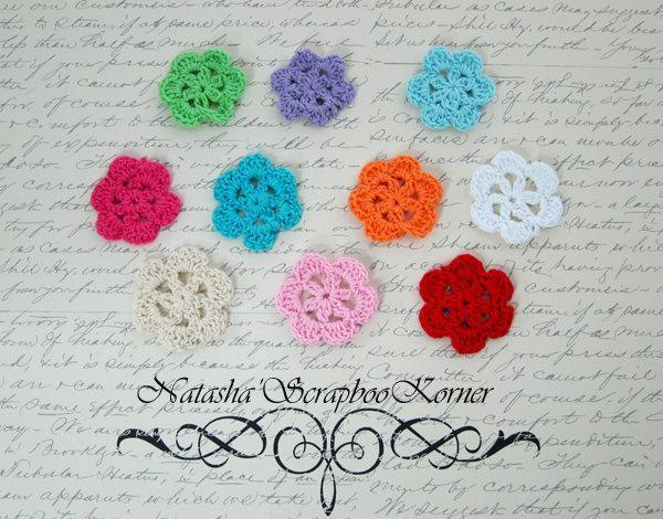 10pcs Crochet Flowers -  Multi Colors stl