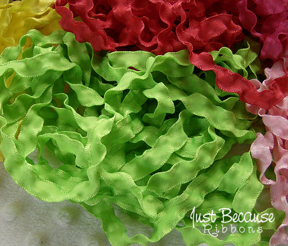 3/8 sour apple (bright lime) double ruffle ribbon