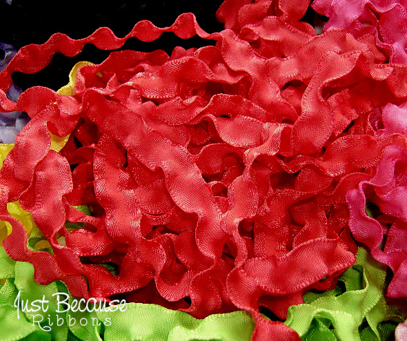 3/8 Ruby (red) double ruffle ribbon