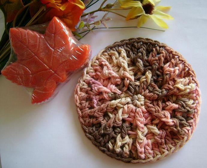 Crocheted Round Soap Dish For Autumn Leaves Soap