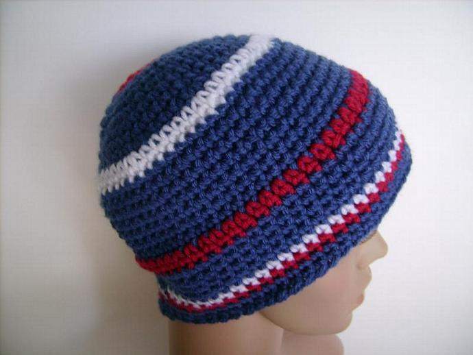 Crocheted Beanie in Blue, Red and White, Sports Team colors