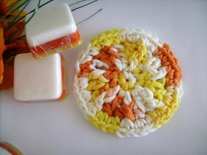 Crocheted Mini Soap Dish in Yellow, Orange or Candy Corn Colors